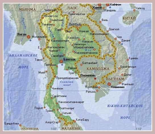 общие сведения о Таиланде - карта