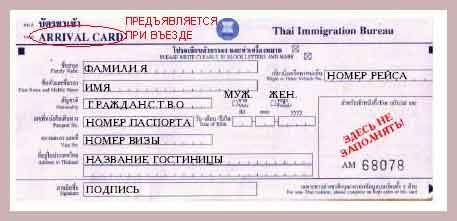 миграционная карточка в Таиланде