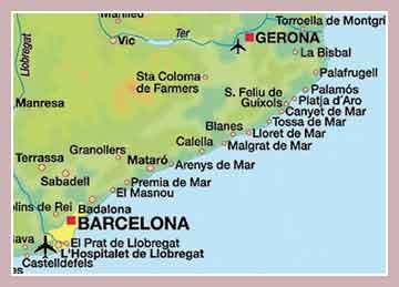 Карта Коста-Бравы
