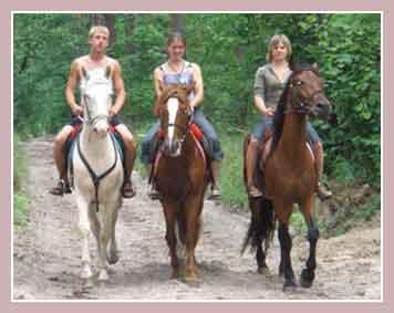 туристы на лошадях в сельской усадьбе