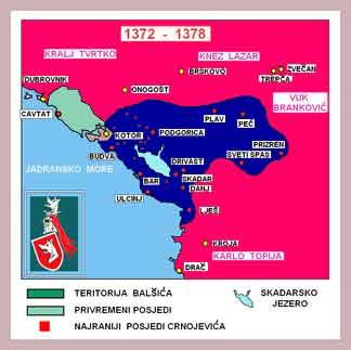 карта Черногории средних веков